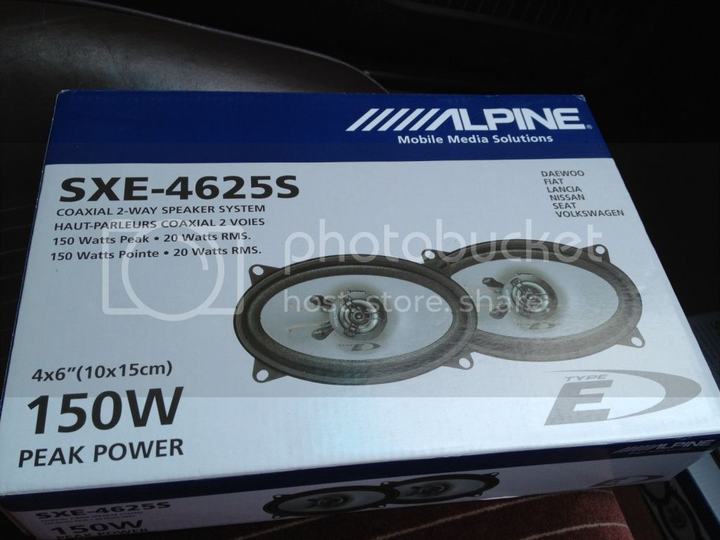 Great sound and they were only about 25 a pair believe it or not from car audio direct http www caraudiodirect co uk alpine sxe 4625s html
